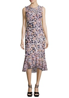 Shoshanna Barlett Sleeveless Floral Midi Dress