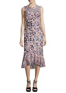Shoshanna Barlett Sleeveless Floral Midi Dress