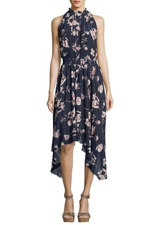 Shoshanna Barra High-Neck Sleeveless Floral-Print Silk Midi Dress
