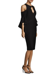 Shoshanna Bell Sleeve Cold Shoulder Crepe Dress