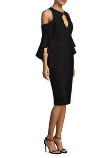 Shoshanna Bell-Sleeve Cold-Shoulder Crepe Dress