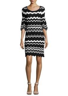 Shoshanna Birdie 3/4-Sleeve Zigzag Sweaterdress