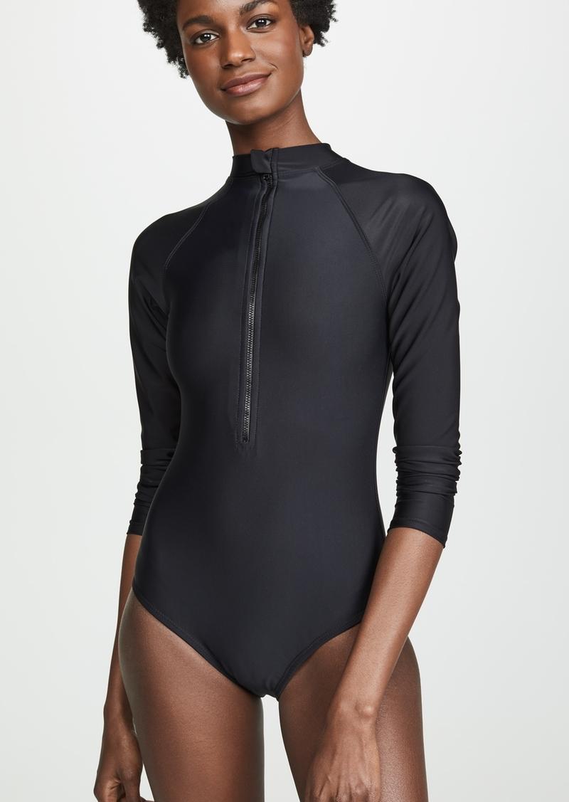 Shoshanna Black One Piece Rash Guard Swimsuit