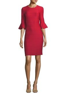 Shoshanna Bluxome Ribbed Bell-Sleeve Dress