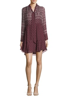 Shoshanna Braemar Tie-Neck Long-Sleeve Printed Chiffon Dress