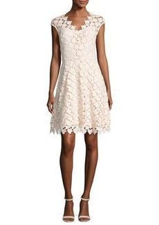 Shoshanna Buchanan Cap-Sleeve Floral Lace Dress