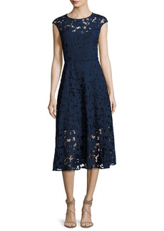 Shoshanna Cap-Sleeve Floral Lace Midi Dress