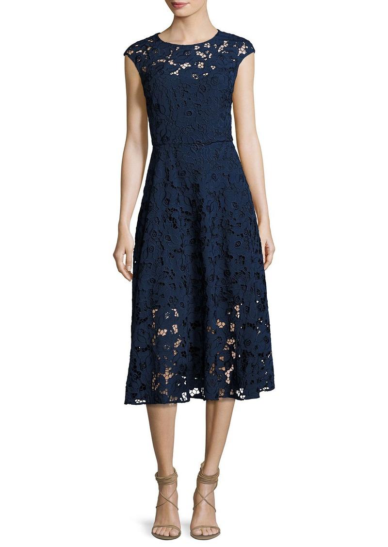 f93ec3b4a76 Shoshanna Shoshanna Cap-Sleeve Floral Lace Midi Dress
