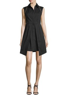 Shoshanna Cap-Sleeve High-Neck Vented Dress