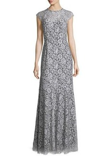 Shoshanna Cap-Sleeve Lace Gown