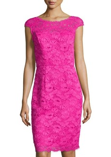 Shoshanna Cap-Sleeve Lace Sheath Dress