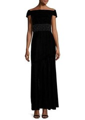 Shoshanna Cap-Sleeve Velour Column Gown