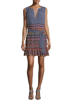 Shoshanna Carlisle Sleeveless Printed Silk Chiffon Flounce Dress