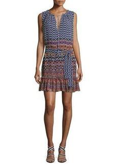 Shoshanna Carlisle Sleeveless Printed Silk Chiffon Flounce Dress