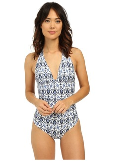 Shoshanna Caspian Ikat Ruched Halter One-Piece