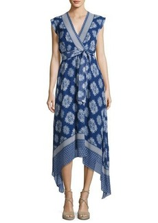 Shoshanna Catrina Sleeveless Printed Silk Wrap Dress