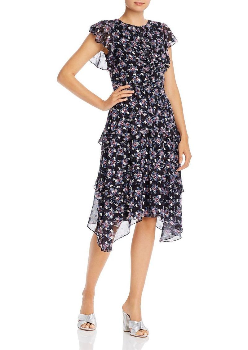 Shoshanna Cedar Floral-Printed Metallic-Dot Dress