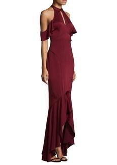 Shoshanna Cold-Shoulder Hi-Lo Gown