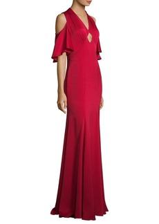 Shoshanna Cold-Shoulder Keyhole Gown