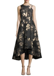 Shoshanna Coraline Sleeveless Metallic Floral High-Low Evening Gown