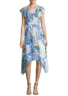 Shoshanna Curran V-Neck Floral-Print Midi Dress