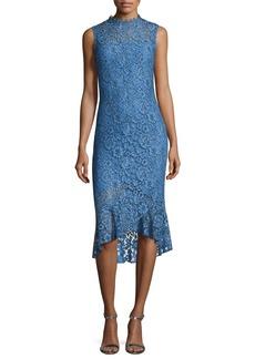 Shoshanna Drayton Sleeveless Lace Midi Sheath Dress