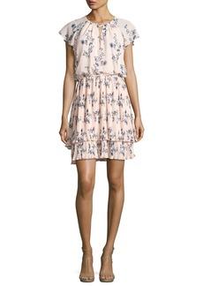 Shoshanna Ebony Floral Chiffon Blouson Dress