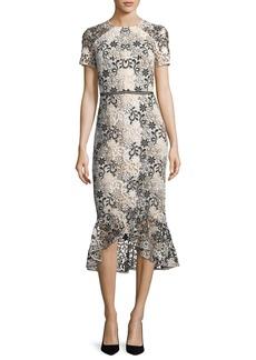 Shoshanna Edgecombe Short-Sleeve Floral Lace Dress w/Flounce Hem
