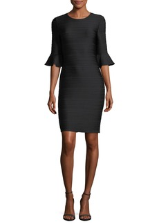 Shoshanna Eilley Jewel-Neck Trumpet Sleeve Sheath Dress