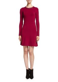 Shoshanna Embellished Fit-and-Flare Ponte Dress