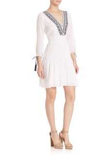 Shoshanna Embroidered Fit & Flare Dress