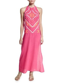 Shoshanna Embroidered-Front Halter Maxi Dress