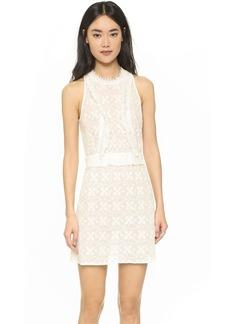 Shoshanna Embroidered Open Back Dress