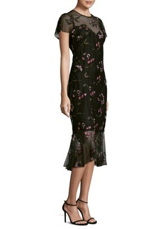 Shoshanna Embroidered Overlay Midi Dress