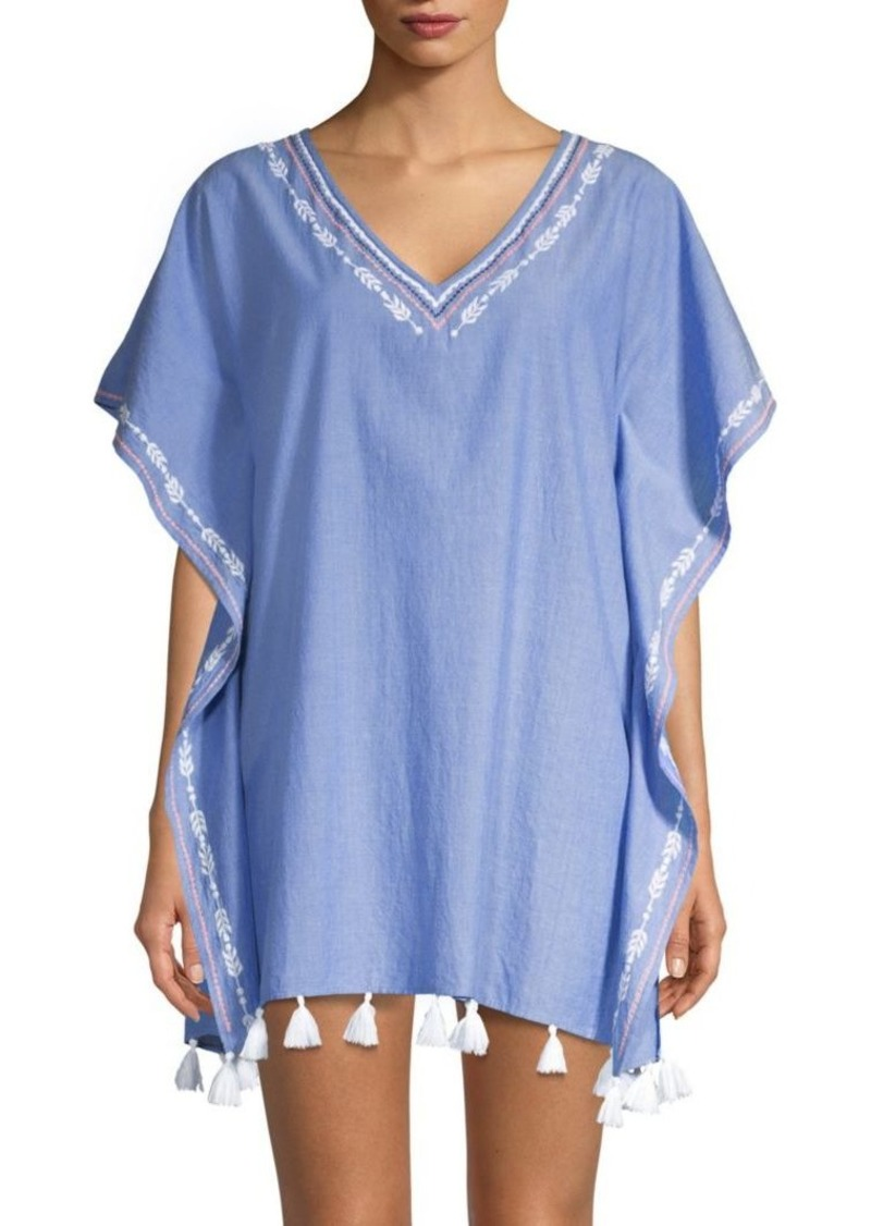 Shoshanna Embroidered V-Neck Cotton Caftan