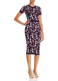 Shoshanna Evan Floral Knit Midi Dress