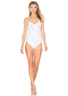 Shoshanna Eyelet Lace Ruffle Maillot in White. - size 0 (also in 2,4)