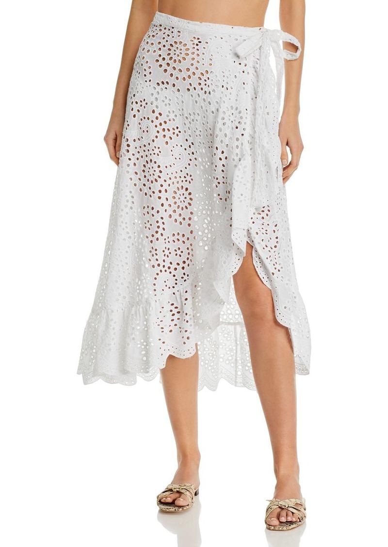 Shoshanna Eyelet Ruffled Wrap Skirt Swim Cover-Up