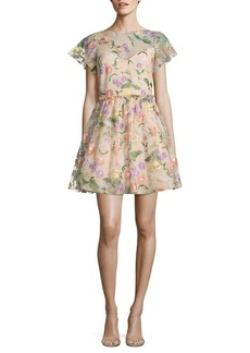Shoshanna Floral Embroidered Fit-&-Flare Dress