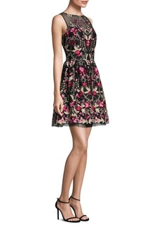 Shoshanna Floral Embroidered Flare Dress