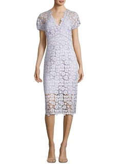 Floral Lace Cotton Sheath Dress