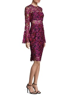 Floral Lace Bell-Sleeve Dress