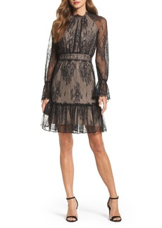 Shoshanna Floral Medallion Lace Fit & Flare Dress