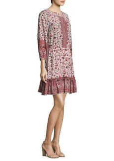 Shoshanna Floral-Print Silk Flounce Skirt Dress