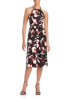 Shoshanna Floral Printed Wool & Silk Halter Dress