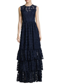 Shoshanna Fowler Sleeveless Tiered Lace Gown