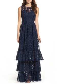 Shoshanna Fowler Tiered Lace Gown