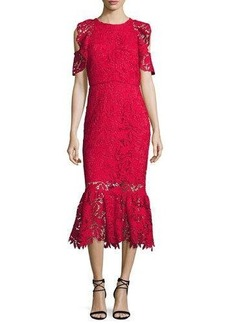 Shoshanna Francoise Cold-Shoulder Lace Midi Dress