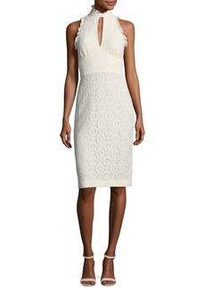 Shoshanna Giana Lace Applique Keyhole Ruffle Dress