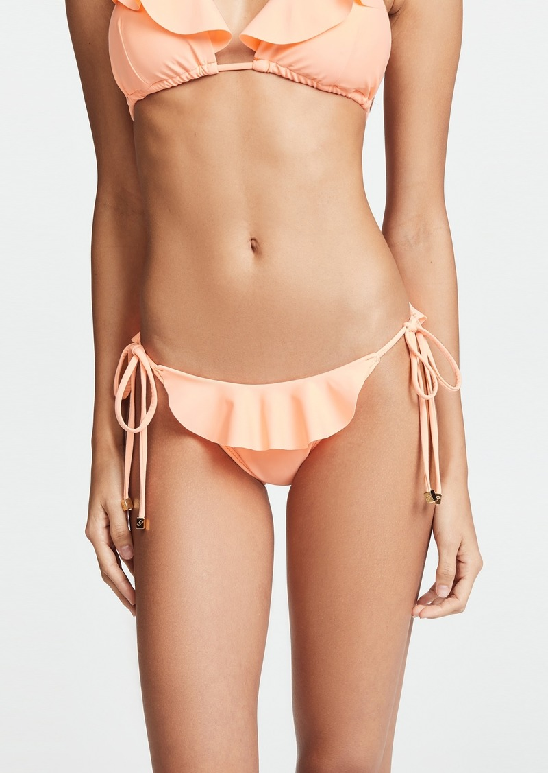 Shoshanna Grapefruit String Bikini Bottoms with Ruffles